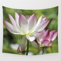 lotus flower Wall Tapestries featuring Lotus by Catherine Stuckrath