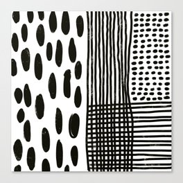 Play minimalist abstract dots dashes and lines painterly mark making art print Canvas Print