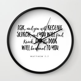 Matthew 7:7 Bible Verse Wall Clock