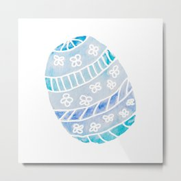 Easter Egg in Blue and Teal Metal Print