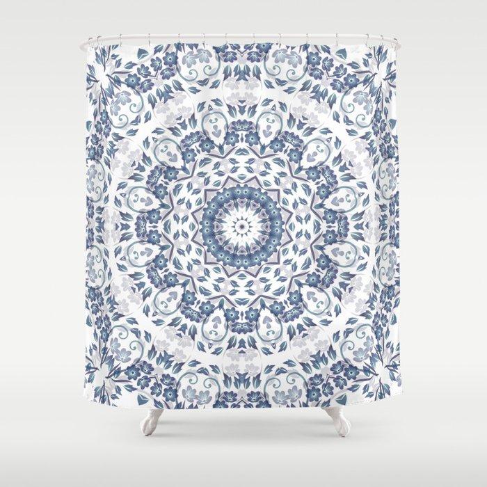 Grayish Blue White Flowers Mandala Shower Curtain