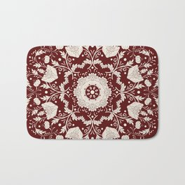 Red Floral Batik Bath Mat
