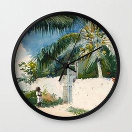 Winslow Homer - A Garden in Nassau,1885 Wall Clock