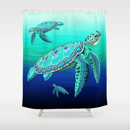 Sea Turtle Turquoise Oceanlife Shower Curtain