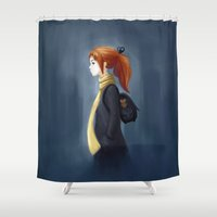 backpack Shower Curtains featuring Rainy Days by Freeminds