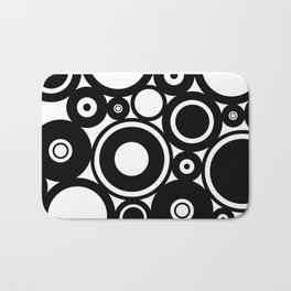 Retro Black White Circles Pop Art Bath Mat