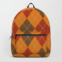 Traditional Orange Red and Black Argyle Plaid Print Backpack