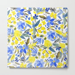 Modern china blue and yellow bright floral watercolor Metal Print