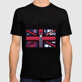 Vintage Union Jack UK Flag with London Decoration T-shirt