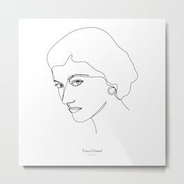 Minimalistic female black and white line drawing of Coco Metal Print