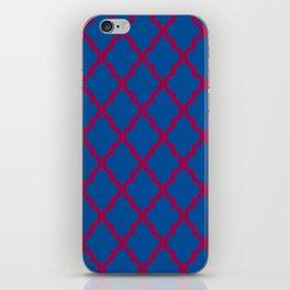 Moroccan Quatrefoil Pattern: Red & Blue iPhone Skin