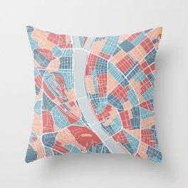 Budapest map, Hungary Throw Pillow