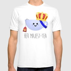 Her Majest-tea White Mens Fitted Tee LARGE