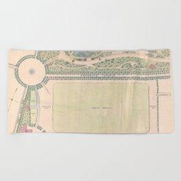 Vintage Map of Prospect Park (1868) Beach Towel