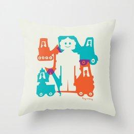 Friendlier Robots Throw Pillow