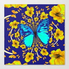 TURQUOISE BLUE YELLOW AMARYLLIS BUTTERFLY ART Canvas Print