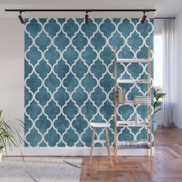 Classic Quatrefoil Lattice Pattern 905 Blue Wall Mural