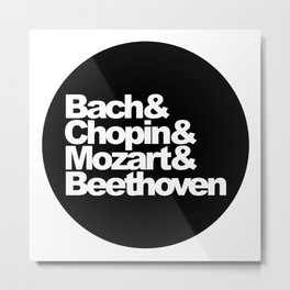 Bach and Chopin and Mozart and Beethoven, sticker, circle, black Metal Print