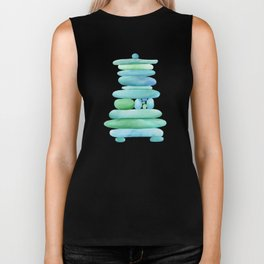 Sea Glass Cairn Watercolor Biker Tank