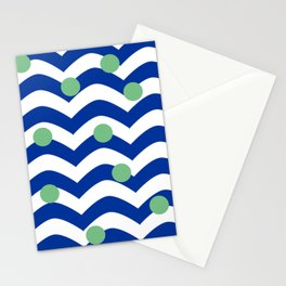 blue dotted waves Stationery Cards