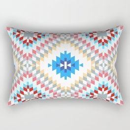 Colorful patchwork mosaic oriental kilim rug with traditional folk geometric ornament Rectangular Pillow