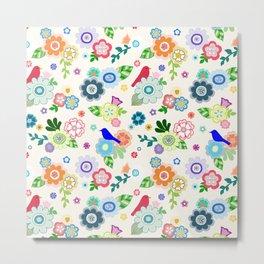 Whimsical Spring Flowers in Vanilla Metal Print