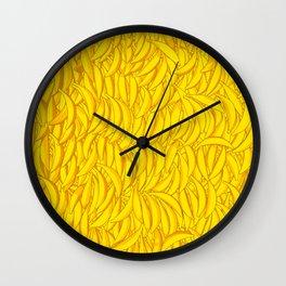 It's Full of Bananas / Yellow graphic banana pattern Wall Clock
