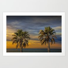 Two Palm Trees at Sunrise by Aransas Pass Harbor in Corpus Christi Bay by the Gulf of Mexico No.0535 Art Print