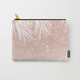 Modern tropical palm tree rose gold glitter ombre blush pink gradient Carry-All Pouch