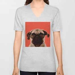Geek Pug in Red Background Unisex V-Neck