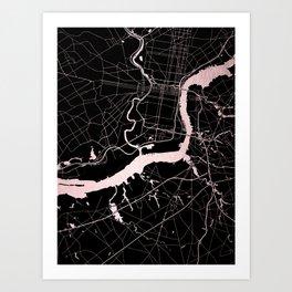 Philadelphia - Black and Rose Gold Art Print