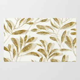 Gold Leaves Branches Rug