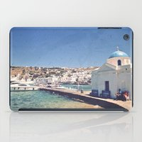 greece iPad Cases featuring Hello, Greece by ZBOY