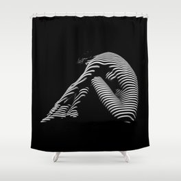 0056-DJA Zebra Back Nude Woman Yoga Black White Abstract Curves Expressive Line Slim Fit Girl Shower Curtain