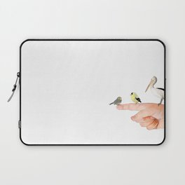 Small Birds Perching on a Hand Laptop Sleeve