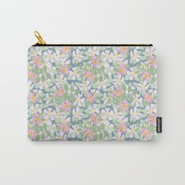 Pink Dogroses on Moody Blue Carry-All Pouch