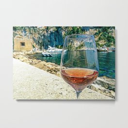 Glass of rose wine on the seacoast of the French Riviera Metal Print