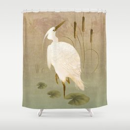 White Heron in Bulrushes Shower Curtain
