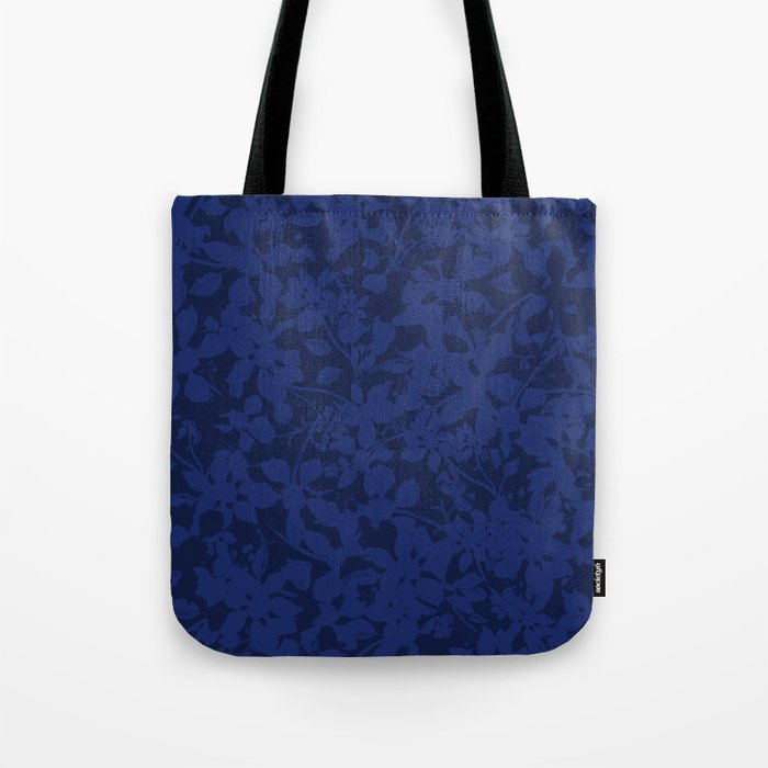 Blue on Blue - Broken but Flourishing Botanical Pattern Tote Bag