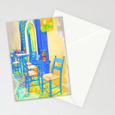 Greek Coffee Place Gold and Blue Stationery Cards