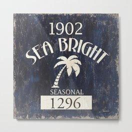 SEea Bright Beach Badge Metal Print