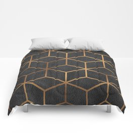 Charcoal and Gold - Geometric Textured Cube Design I Comforters