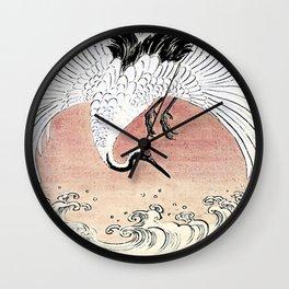 Crane and Wave Wall Clock