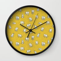 baby Wall Clocks featuring indian baby elephants by Estelle F