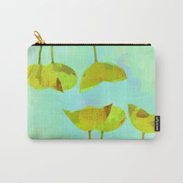 6 yellow flowers on turquoise Carry-All Pouch