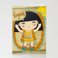 bonjour Stationery Cards featuring Bonjour by maru y su cabeza