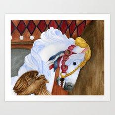 Carousel Horse - Saffron Art Print