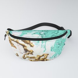 turquoise gold white abstract digital painting Fanny Pack