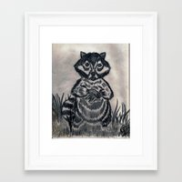 racoon Framed Art Prints featuring RACOON by NEIL STUART COFFEY