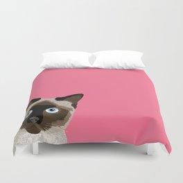 Peeking Siamese Cat - Funny cat meme for cat lovers, cat ladies gifts for cat people Duvet Cover